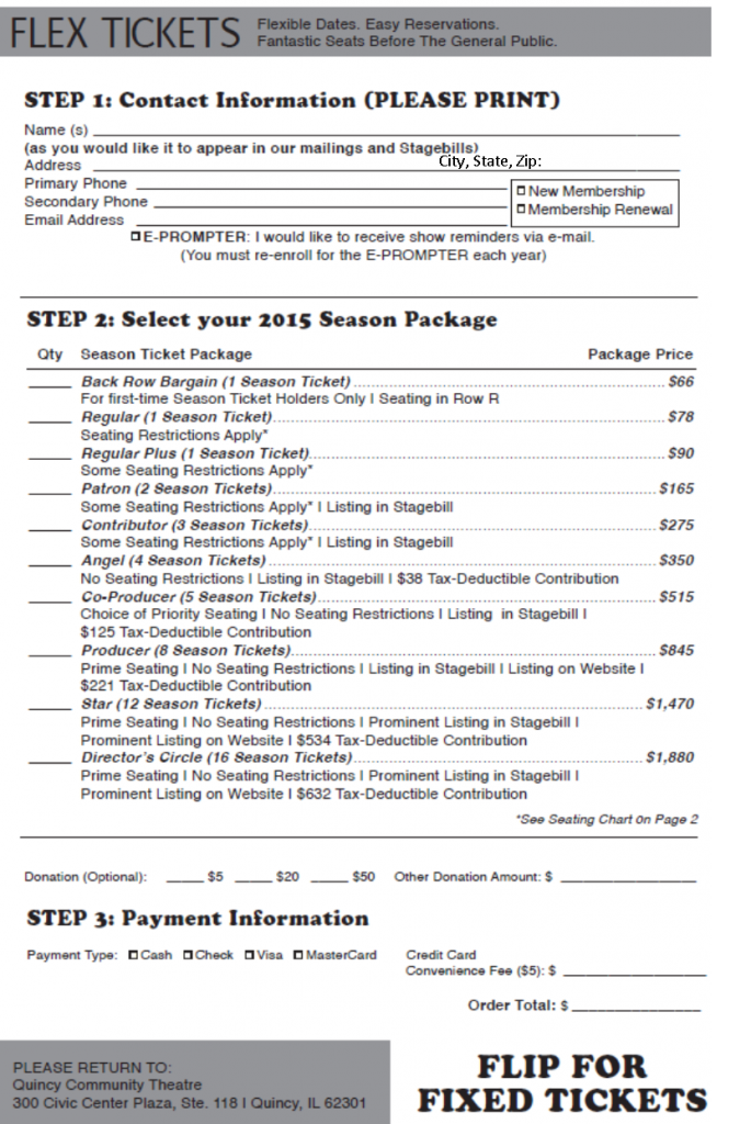 2015 season ticket order forms quincy community theatre